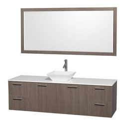 Wyndham - Amare 72in. Wall Single Vanity Set in Grey Oak w/ White Stone Top & White Porc - Modern clean lines and a truly elegant design aesthetic meet affordability in the Wyndham Collection Amare Vanity. Available with green glass or pure white man-made stone counters, and featuring soft close door hinges and drawer glides, you'll never hear a noisy door again! Meticulously finished with brushed Chrome hardware, the attention to detail on this elegant contemporary vanity is unrivalled.