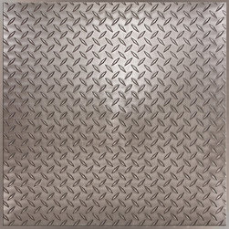 """Diamond Plate Ceiling Tile - Faux Pewter - Perfect for both commercial and residential applications, these tiles are made from thick .03"""" vinyl plastic. Their lightweight yet durable construction make these tiles easy to install. Waterproof, these tiles are washable and won't stain due to humidity or mildew. A perfect choice for anyone wanting to add that designer touch at an amazing price."""