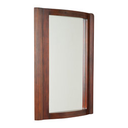 American Imaginations - 24-in. W x 32-in. H Traditional Birch Wood-Veneer Wood Mirror - This traditional wood mirror belongs to the exquisite Milano design series. It features a rectangle shape. This wood mirror is designed to be installed as an wall mount wood mirror. It is constructed with birch wood-veneer. This wood mirror comes with a lacquer-stain finish in Antique Cherry color. Antique style mirror with unique linear-pattern sides constructed with high quality premium glass with bevelled edges. This Wood Mirror features Antique Brass hardware. Features a small shelf for your essentials
