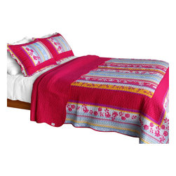 Blancho Bedding - Blooming Garden Cotton 3PC Vermicelli-Quilted Patchwork Quilt Set  Full/Queen - Set includes a quilt and two quilted shams. Shell and fill are cotton. For convenience, all bedding components are machine washable on cold in the gentle cycle and can be dried on low heat and will last you years. Intricate vermicelli quilting provides a rich surface texture. This vermicelli-quilted quilt set will refresh your bedroom decor instantly, create a cozy and inviting atmosphere and is sure to transform the look of your bedroom or guest room. Dimensions: Full/Queen quilt: 90 inches x 98 inches. Standard sham: 20 inches x 26 inches.