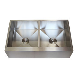 """Ariel - 36 Inch Stainless Steel Flat Front Farmhouse Apron Kitchen Sink Double Bowl - The Ariel 36 inch apron sink will provide strength and durability over the years. Handmade from heavy duty 16 gauge premium grade 304 stainless steel. Exterior Dimensions 36"""" x 21"""" x 10""""."""