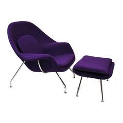 Fine Mod Imports - Eero Saarinen Style Womb Chair and Ottoman, Purple - This wonderful Eero Saarinen style chair features a molded fiber-glass frame, fire retardant polyurethane foam padding, and covered with wool fabric. 100% Wool Solid Stainless Steel Base.