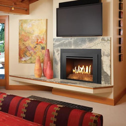 Fireplace Xtrordinair by Travis Industries - FPX 616 Diamond-Fyre GreenSmart with Remote Gas Insert - Shown with the Universal Face, Platinum Crushed Glass and Black Painted Fireback.