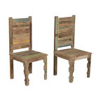 Sierra Living Concepts - Farmhouse Rustic Old Reclaimed Wood Dining Chair (Set of 2) - Settle down to old fashion comfort and handcrafted excellence with our Oklahoma Farmhouse Washboard Back Chair.