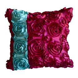 KH Window Fashions, Inc. - Textured Rose Square Pillow Cover- Pink with Aqua Stripe - This textured rose pillow with aqua stripe adds a pop of color to any space. The texture and vibrant colors are exquisite.