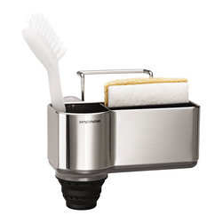 simplehuman - Sink Caddy - Sayonara, soggy sponges! Keep your sink area neat and organized with this handy sponge caddy. It adheres to the side of your sink with four suction cups and a wire hanger, and drainage holes keep the contents dry and sanitary.