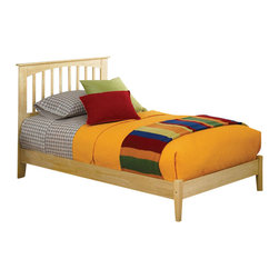 Atlantic Furniture - Atlantic Furniture Brooklyn Platform Bed with Open Footrail in Natural Maple-Kin - Atlantic Furniture - Beds - AP9051005 - The warm wood finish accentuates the classic mission style slat and post design of this beautiful platform bed. Comfortable and eclectic it will add character and timeless elegance to your decor.