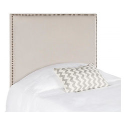 Safavieh - Jasmine Twin Headboard - Choose the Jasmine twin headboard for the tailored luxury of pure linen fabric in neutral taupe over thick padding for true comfort. Offering clean lines for contemporary or transitional interiors, the Jasmine headboard features brass nail head trim.
