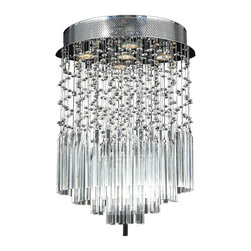 "Worldwide Lighting - Torrent 5 Light Chrome Finish Raindrop Crystal 16"" Round Flush Ceiling Light - This stunning 5-light ceiling light only uses the best quality material and workmanship ensuring a beautiful heirloom quality piece. Featuring a radiant chrome finish and finely cut premium grade crystals with a lead content of 30%, this elegant ceiling light will give any room sparkle and glamour. Worldwide Lighting Corporation is a privately owned manufacturer of high quality crystal chandeliers, pendants, surface mounts, sconces and custom decorative lighting products for the residential, hospitality and commercial building markets. Our high quality crystals meet all standards of perfection, possessing lead oxide of 30% that is above industry standards and can be seen in prestigious homes, hotels, restaurants, casinos, and churches across the country. Our mission is to enhance your lighting needs with exceptional quality fixtures at a reasonable price."