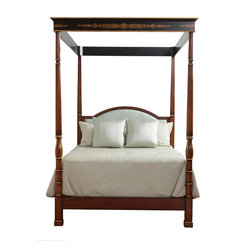 178-501 Regency Poster Bed with Canopy - From our Neoclassic Collection, The Regency Bed  is the embodiment of luxury with hand-carved posts and  stylized leaf motifs.