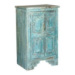 Sierra Living Concepts - Nottingham Rustic Reclaimed Wood Accent Storage Cabinet End Table - Eco Friendly reclaimed wood reconstructed into a Rustic Cabinet, the Nottingham Accent Storage Cabinet End Table features authentically aged and distressed Sea blue hue. The hand forged metal handle adds to the rustic beauty of this storage cabinet end table.