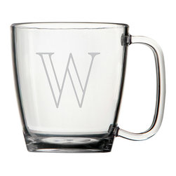 None - Personalized Acrylic Coffee Mugs (Set of 4) - Style and durability come together with this set of Monogrammed Acrylic Coffee Mugs. Virtually unbreakable and featuring a remarkable glass-like clarity,each 15-ounce glass is personalized with the one letter monogram of your choice.