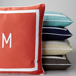 Horchow - Sunnyside Mitered-Border Pillow with Monogram - Removable pillow sham comes in a variety of fresh colors with your single initial monogram to add a personal touch to the outdoors. Select color when ordering. Personalization will be in white in style shown. Outdoor-safe spun polyester with Dacron&#...