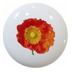 Carolina Hardware and Decor, LLC - Orange Poppy Ceramic Knob - New 1 1/2 inch ceramic cabinet, drawer, or furniture knob with mounting hardware included. Also works great in a bathroom or on bi-fold closet doors (may require longer screws). Item can be wiped clean with a soft damp cloth. Great addition and nice finishing touch to any room!