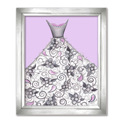 Doodlefish - Petal Princess - This light purple based piece of artwork is called Petal Princess. Artist Regina Nouvel combines original paintings, graphic elements, jewels and glitter to create a beautiful piece of art for your little girl's room. The hottest combination of grey and pink will work with any decor and looks amazing with our Amore and Dozen Roses Bedding sets. The jewels adorn the neckline of the dress and the center of the big flowers are covered in glitter. A Selection of painted or silver frames are available.