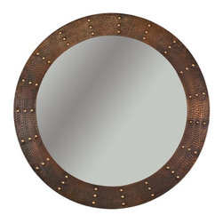 Premier Copper Products - 34 in. Hand Hammered Round Copper Mirror with - Configuration: Round. Design: Hammered Copper Surface with Hand Forged Rivets. Color: Oil Rubbed Bronze. Inner Dimension 26 in. x 26 in. x 1 in.. Outer Dimension: 34 in. x 34 in. x 1 in.. Installation Type: Wall Mount. Material Gauge: Industry Best (18 Gauge Wrapped Around MDF Plywood). Hand Made. Mirror: Included. 100% Recyclable. Composition: 99.7% Pure Recycled Copper. Lead Free (