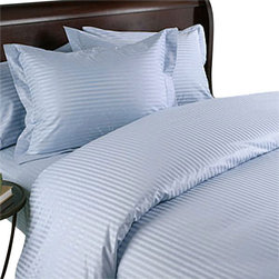 SCALA - 600TC 100% Egyptian Cotton Stripe Blue Full Size Fitted Sheet - Redefine your everyday elegance with these luxuriously super soft Fitted Sheet. This is 100% Egyptian Cotton Superior quality Fitted Sheet Set that are truly worthy of a classy and elegant look.