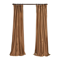 """Exclusive Fabrics & Furnishings, LLC - Gold Nugget Faux Silk Taffeta Curtain - 56% Nylon & 44% Polyester. 3"""" Pole Pocket with Hook Belt. Lined. Interlined. Imported. Weighted Hem. Dry Clean Only. SOLD PER PANEL."""