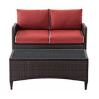 Crosley - Kiawah 2 Piece Outdoor Wicker Seating Set With Sangria Cushions - The Kiawah Collection from Crosley will transform your outdoor area in to the perfect intimate conversational setting. You and your guests will enjoyed plush piped cushions, deep seats, and a stylish design that will surely remind you why your outdoor room is just oh so inviting. All-weather wicker is elegantly woven over durable steel, powder-coated frames and married with UV/fade resistant cushions to provide not only comfort but durability. Add pieces as needed to craft the perfect size and shape for your individual space.