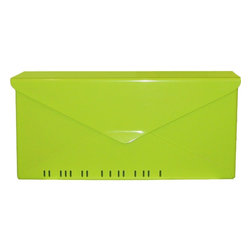 Modern #10 Wall-Mount Mailbox in Key Lime - The No. 10 Letterbox by HouseArt, shown in Key Lime. This is a wall-mount mailbox.
