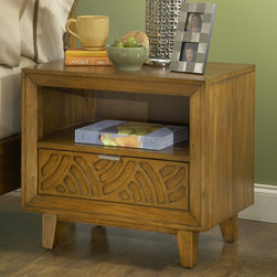Domusindo - Latticework Pecan One-Drawer Charging Station Nightstand - This piece features a 3 outlet power strip in the drawer for clutter-free charging. Laser-cut latticework pattern is designed to bring the outside in and a warm pecan finish showcases rich wood grains.