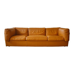 Italian Soft Leather 3 Cushion Tobacco Colored Couch - custom made by TANZI MONZ - Dimensions:L 92''  × W 34''  × H 28''