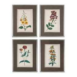 Uttermost - Floral Varieties Framed Art, Set of 4 - Add some botanical beauty to your walls with this set of four floral variety prints. These vivid blooms are offset perfectly by the brown linen matting and elegant silver leaf frames they come in. You'll feel like you're walking in an English garden, every time you enter the room.