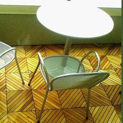 Vifah - Premium Plantation Teak Deck Tile / 12 Diagonal Slats - Natural finish