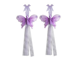 "Bugs-n-Blooms - Butterfly Tie Backs Purple Jewel Nylon Butterflies Tieback Pair Set Decorations - Window Curtains Holder Holders Tie Backs to Decorate for a Baby Nursery Bedroom, Girls Room Wall Decor - 5""W x 4""H Jewel Curtain Tieback Set Butterfly 2pc Pair - Beautiful window curtains tie backs for kids room decor, baby decoration, childrens decorations. Ideal for Baby Nursery Kids Bedroom Girls Room.  This gorgeous butterfly tieback set is embellished with sequins and glitter.  This pretty butterfly decoration is made with a soft bendable wire frame & have color match trails of organza ribbons.  Has 2 thick color matched organza ribbons to wrap around the curtains.  Visit our store for more great items. Additional styles are available in various colors, please see store for details. Please visit our store on 'How To Hang' for tips and suggestions. Please note: Sizes are approximate and are handmade and variances may occur. Price is for one pair (2 piece)"