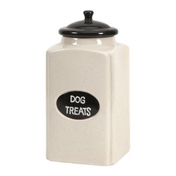 iMax - iMax Dog Large Ceramic Canister with Metal Plaque X-27296 - This cream finished ceramic canister is a great place to store dog treats for your canine friends!