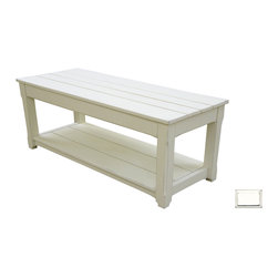 Tradewinds - Cottage Plank Coffee Table / Bench, White - Enjoy a scorching cup of coffee with your loved one on this expertly carved cottage plank coffee table/bench. This functional table features lower shelf to accommodate B-100 baskets with ease. This hand painted furniture piece comes in multiple finish options to match with the decor of your house at best.