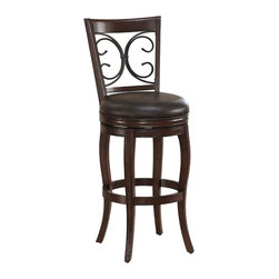 """American Heritage - American Heritage Taranto Counter Height Stool - Counter Height Stool in the Taranto collection by American Heritage Finished in navajo with tobacco bonded leather, the Taranto has a striking metal back design. It also features a full-bearing 360? swivel, mortise and tenon construction, fully-integrated back support, adjustable leg levelers, and a 3"""" cushion. This stool comes complete with a 1 year warranty"""