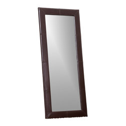 Abbyson Living - Blake Leather Large Floor Mirror - Sleek and elegant Large Floor Mirror  features a brown bi-cast leather frame. Meticulously handcrafted faux leather  with detail panel stitching  for added character. This unique floor mirror is a must have for any contemporary style home or office and the height can fit a variety of different sizes and heights.