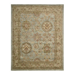 "Nourison - Nourison Jaipur JA19 (Aqua) 5'6"" x 8'6"" Rug - The Nourison Jaipur collection features a distinctive assortment of traditional designs, handmade from the finest 100% premium quality wool. Nourison's own unique herbal-wash process creates the elegant look of a priceless antique. With their lavish pile and the silk-like sheen of their lanolin-rich wool, Jaipur Collection rugs will bring a dramatic fashion accent to any room setting."