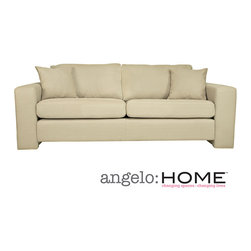ANGELOHOME - angelo:HOME Angelo Washed Khaki Tan Sofa - The angelo:HOME Angelo washed khaki tan sofa features extra wide squared arms. The Angelo sofa, designed by Angelo Surmelis, provides spacious comfortable seating for three.