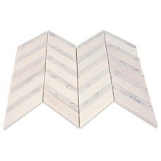 Monarch Thassos With White Carrera Strips Marble tile- shop glass tiles at glass