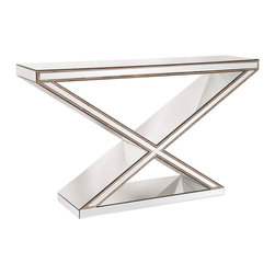 "Howard Elliott - Howard Elliott 99022 ""X"" Frame Mirrored Console Table - This mirrored console table features an ""x"" frame that is outlined in antique silver nail head studs. Console Table (1)"