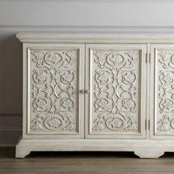 "John-Richard Collection - John-Richard Collection ""Camelot"" Chest - A symphony in white, this charming chest features panel doors dressed in hand-carved vine and flower motifs. A glazed-white finish adds contemporary sophistication to its hand-planed, rustic quality. From the John-Richard Collection. Handcrafted of ac..."