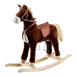 """Happy Trails - Happy Trails Plush Rocking Horse - Hand crafted. Sturdy wooden rockers stand. Age group: 3-4 years. Made from wood. 35.25 in. W x 11.88 in. D x 32 in. H (9 lbs.)This soft, plush Rocking Horse from Happy Trails™ is sure to be your cowboy or cowgirl's favorite toy. Your little one will enjoy hours """"riding the range"""" on this wonderful Rocking Horse from Happy Trails."""