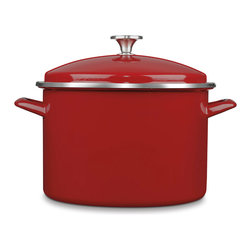 Cuisinart Chef's Classic Enamel on Steel 10 Qt. Stockpot Red - A kitchen essential!  Every kitchen needs a big stockpot  and this heavy duty Cuisinart classic promises the performance of a lifetime.  Slow-simmer chili or sauce and steam large batches of vegetables.  Prepare big pots of homemade soup or cook up a family-favorite stew.  Safe for all burner types including induction.  Product Features      Enamel on steel construction for quick and even heating   Wide sure grip handles   Tight fitting lid to seal in flavor   Stockpot and lid are oven safe to 350 Degrees F.   Dishwasher safe   Lifetime warranty