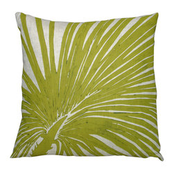 Dermond Peterson - Dermond Peterson Zoomed Olive Palm Pillow - From its dusky and vintage design, the Zoomed Olive Palm Pillow has rich yellow-green olive-toned color for its palm fronds, which are deeply focused upon with this accent pillow. The close-up intrigue of the tropical branch is enhanced by a contrasting old-fashioned color that is set over a white linen background for a look that is distinctly unique and riveting. With these facets to the throw pillow, eclectic ambiance is created:Down feather pillow with linen coverBlock-printed by handInk is environmentally-sensitive and water-based, without solvents, lead or heavy metalsWashable and colorfast