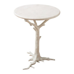 White Faux Bois Side Table - Realistically modeled with surprising dimensions and details, the White Faux Bois Side Table brings a sensitive sculpture of an iconic woodland tree into your decor along with the stylish, restrained class of a white-on-white accessory. Ideal for adding a kick of whimsy to a monochrome interior or a minimalist palette, this graceful accent table invokes the outdoors and soothes the eye.