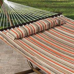 "Island Bay - Quilted Hammock: Island Bay Sienna Stripe Quilted Hammock - Shop for Hammocks from Hayneedle.com! Drift away a summer night in this cool quilted fabric hammock with stripes in alternating shades of brown and orange. Its massive width and sturdy quilted construction make it suitable for two adults if you're willing to share. This design is made with a spreader bar to hold the hammock open allowing for easier use in getting in and out. Though considering the comfort you'll still find it difficult to get out. Plus the free matching button-on pillow really ups the ""Ahhh"" factor! The dimensions of the bed itself are 6 feet 5 inches in length and 4 feet 6 inches in width. Overall this hammock stretches a total of 11 feet 5 inches and requires a hanging distance of at least 13 feet with a 16-foot maximum. 450-pound maximum. Hanging hardware is included. Order today and prepare for an entire summer of relaxation."