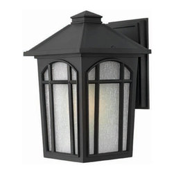 Hinkley - Cedar Hill Black Medium Wall Outdoor Light Fixture - Cedar Hill is a traditional outdoor lantern in durable die cast aluminum construction with medium base lamping.  This four-sided soft taper design features linen glass behind arched window pane panels and is available in two popular finishes.  - Max Wattage - 100  - Glass - White Linen Glass  - Material - Aluminum Hinkley - 1984BK