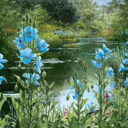 Murals Your Way - Blue Poppies Wall Art - Painted by Peter Ellenshaw, Blue Poppies wall mural from Murals Your Way will add a distinctive touch to any room