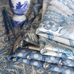 Blue & white textiles by Suzanne Tucker Home - From left: Maharani, Olivier, Monique, Peacock Toile, Carita