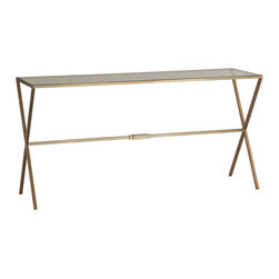 Kathy Kuo Home - Valletta Hollywood Regency Antique Brass Cross Base Console Table - This classic, elegant design complements styles from Hollywood Regency to modern. Antique brass legs form X patterns on each side of the clear glass rectangular top. The transparent rectangular top and open base make it a console table that enhances any area in which it's placed.