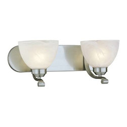 Minka Lavery - Minka Lavery 5422-84-PL Paradox 2 Light Bath in Brushed Nickel with Etched Marbl - Designed to fit comfortably into any home and budget. Strong lines are softened with Brushed Nickel finish and Etched Marble Glass. Quality and style make this a very attractive collection at an incredible value.120V LVS ElectronicBulb Included: No Bulb Type: Fluorescent Collection: Paradox Energy Star Compliant: Yes Extension: 8-1 2 Finish: Nickel Glass Shade: Etched Marble Glass Height: 7-1 2 Light Direction: Up Lighting Number of Lights: 2 Style: Contemporary Transitional Suggested Room Fit: Bathroom UL Listed: Damp Location Wattage: 13 Weight: 5.89 Width: 18