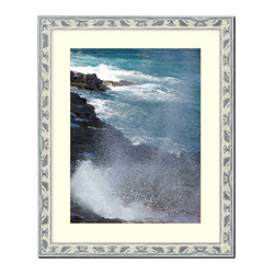 "Frames By Mail - Wall Picture Frame Light Gray Silver Ornate frame - acid-free white matte  , 20x - This 20X24 light gray silver picture frame is imported from Italy.  The frame is 1.25"" wide and has a black back edge. The white matte can be removed to accommodate a larger picture.  The frame includes regular plexi-glass (.098 thickness) foam core backing and can hang either horizontal or vertical."