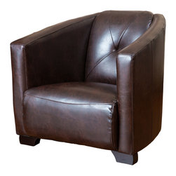 Great Deal Furniture - Bowman Brown Leather Club Chair - The Bowman club chair bears resemblance to the World War II bomber seat. With its wide stance, brown bonded leather upholstery and padded backrest, this chair exudes classic style for modern day appeal. Place this in your living room, bedroom or office for a comfortable and stylish accent piece.